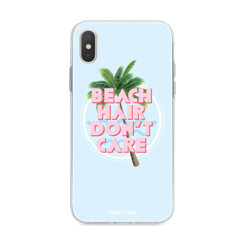 FOONCASE iPhone XS hoesje TPU Soft Case - Back Cover - Beach Hair Don't Care / Blauw & Roze