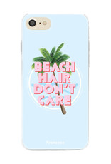 FOONCASE iPhone 7 hoesje TPU Soft Case - Back Cover - Beach Hair Don't Care / Blauw & Roze