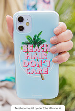 FOONCASE iPhone 11 Pro hoesje TPU Soft Case - Back Cover - Beach Hair Don't Care / Blauw & Roze