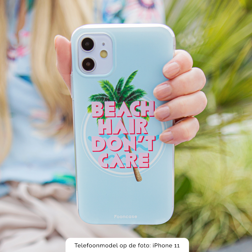FOONCASE iPhone X hoesje TPU Soft Case - Back Cover - Beach Hair Don't Care / Blauw & Roze