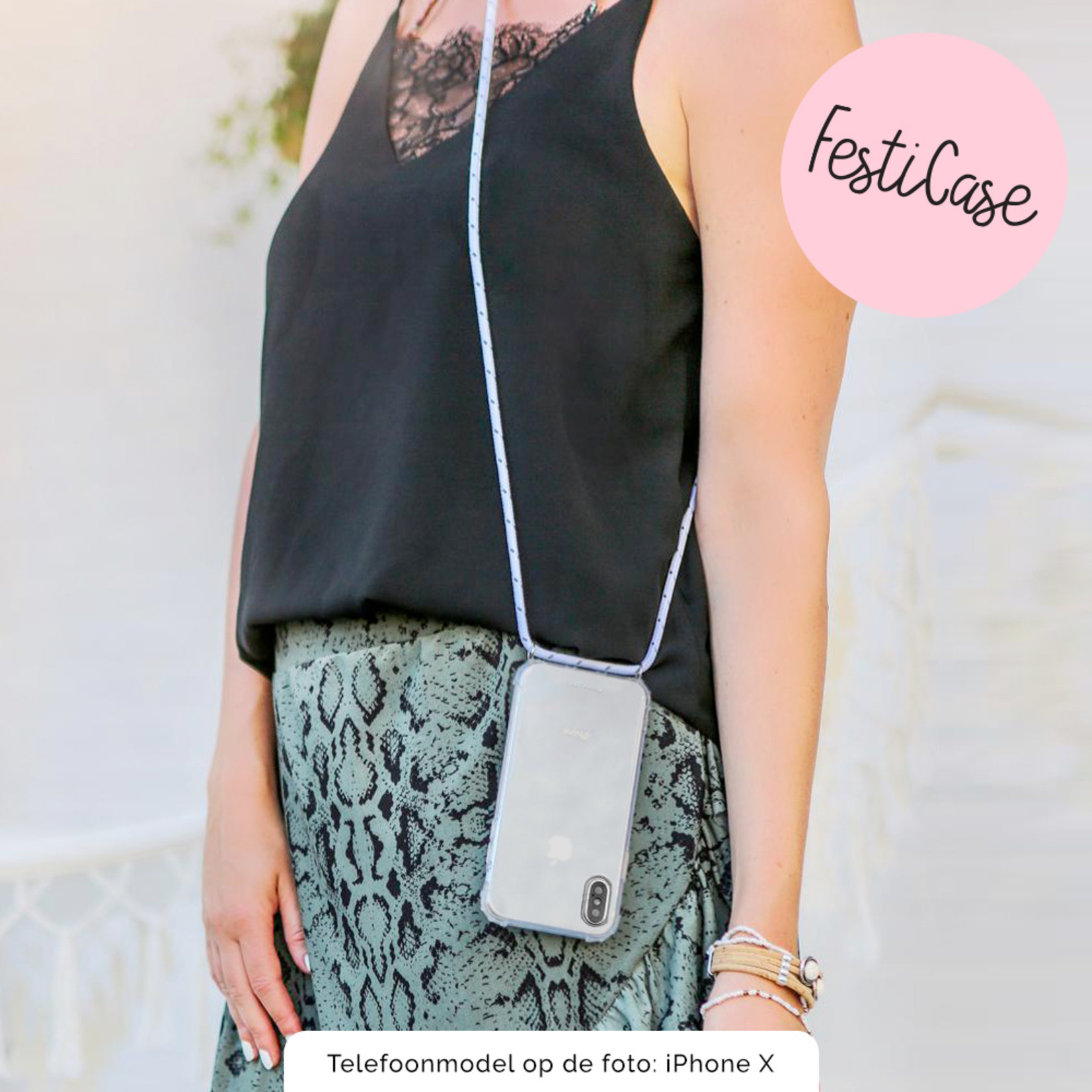 FOONCASE FESTICASE iPhone 8 Plus Telefoonhoesje met koord (Wit) TPU Soft Case - Transparant