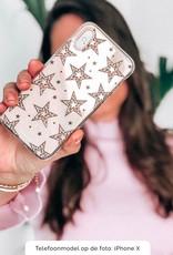 iPhone 8 Plus hoesje TPU Soft Case - Back Cover - Rebell Leopard Sterren Transparant