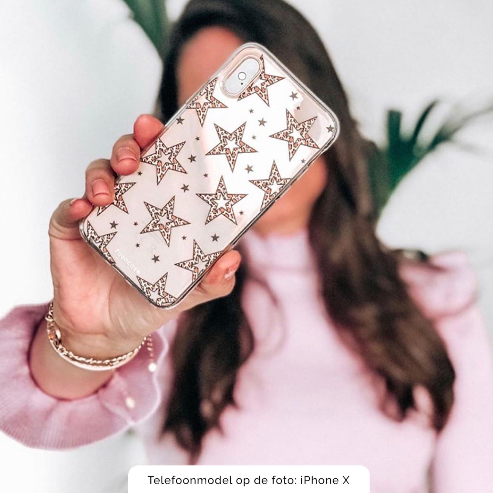 iPhone SE (2020) hoesje TPU Soft Case - Back Cover - Rebell Leopard Sterren Transparant