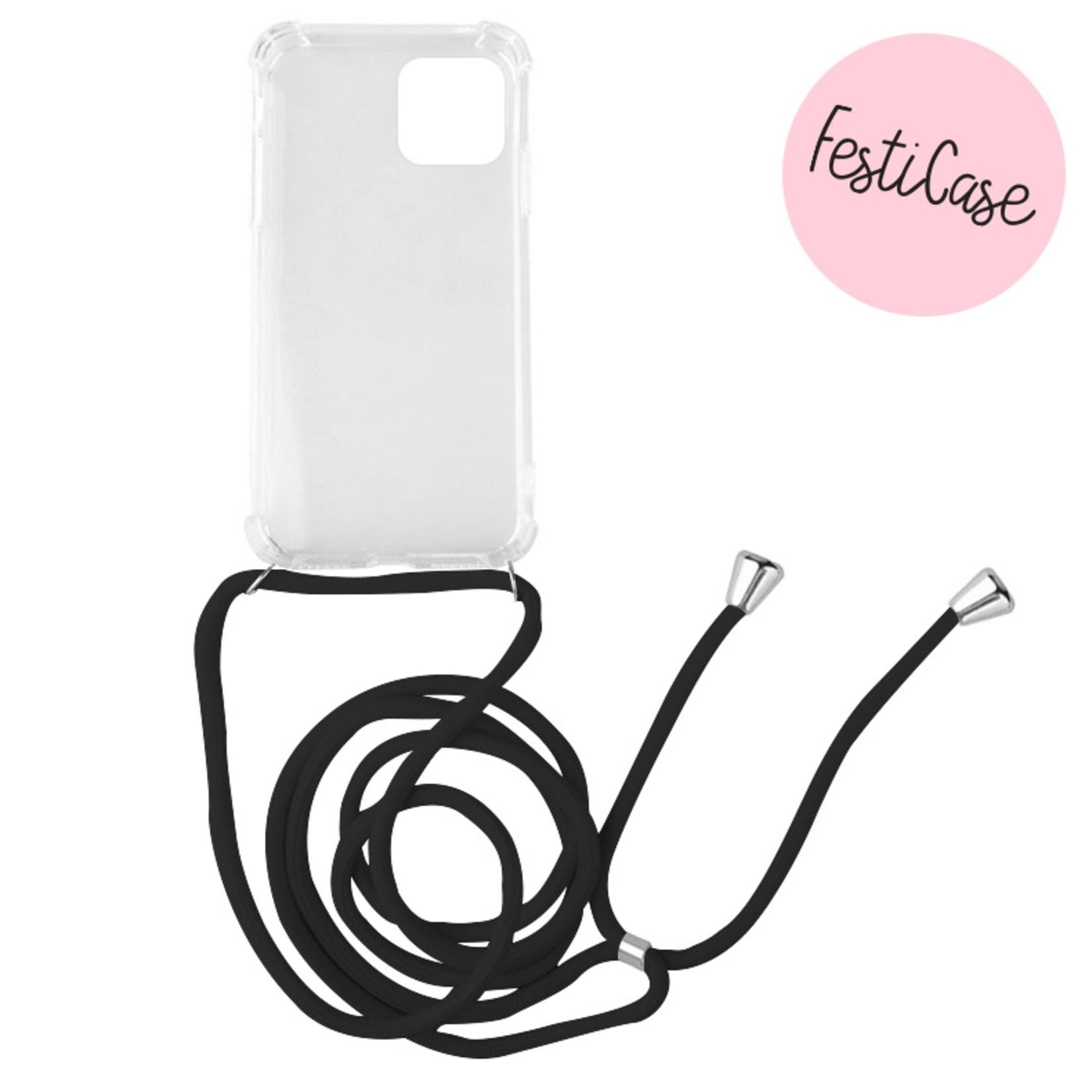 FOONCASE FESTICASE iPhone 11 Telefoonhoesje met koord (Zwart) TPU Soft Case - Transparant