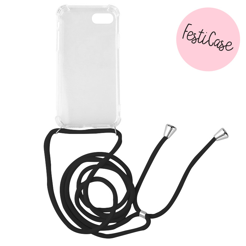 FOONCASE FESTICASE iPhone 8 Plus Telefoonhoesje met koord (Zwart) TPU Soft Case - Transparant