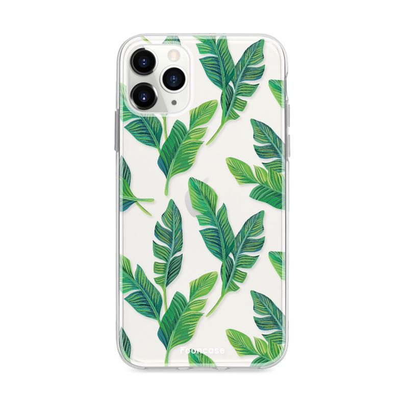 FOONCASE iPhone 12 Pro Max hoesje TPU Soft Case - Back Cover - Banana leaves / Bananen bladeren