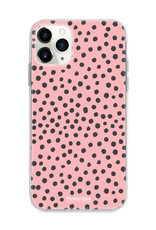 FOONCASE iPhone 12 Pro Max hoesje TPU Soft Case - Back Cover - POLKA COLLECTION / Stipjes / Stippen / Roze