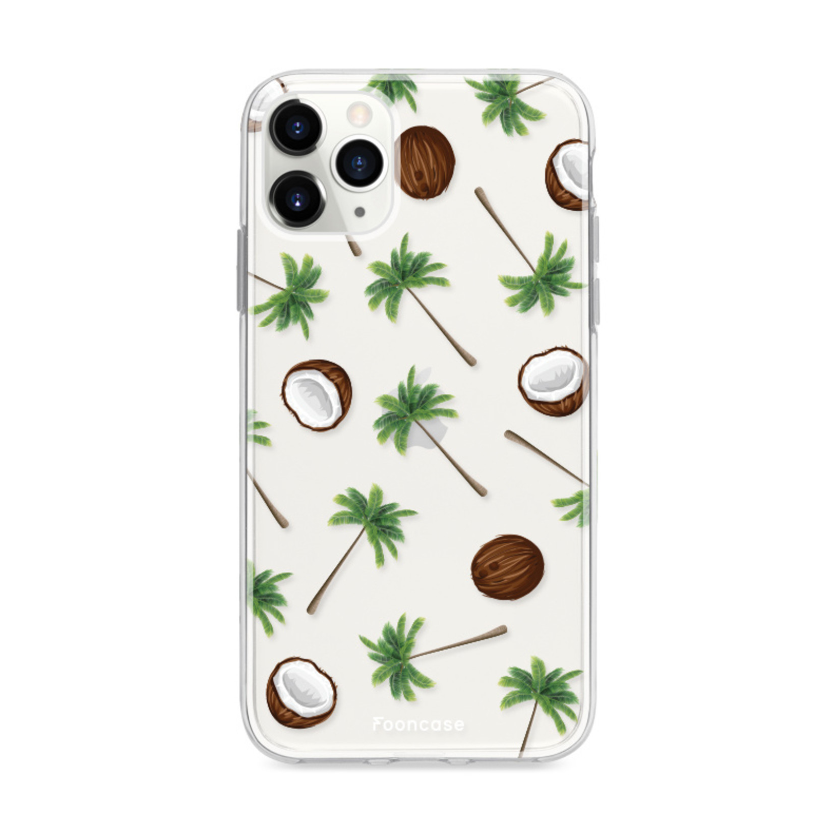 FOONCASE iPhone 12 Pro Max hoesje TPU Soft Case - Back Cover - Coco Paradise / Kokosnoot / Palmboom
