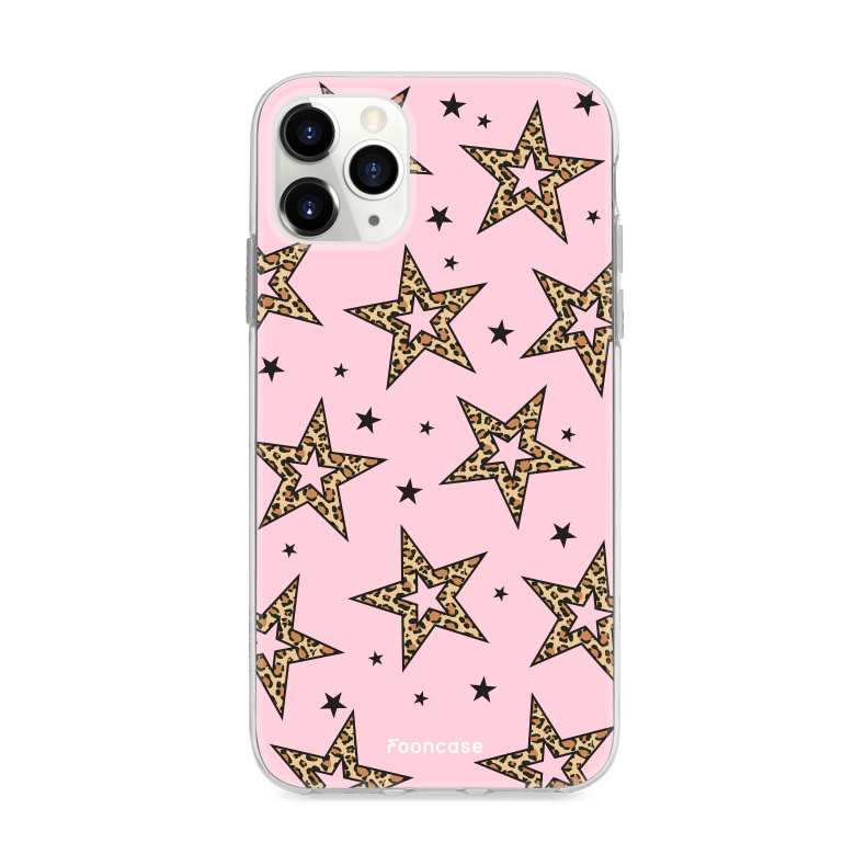 iPhone 12 Pro Max hoesje TPU Soft Case - Back Cover - Rebell Leopard Sterren Roze