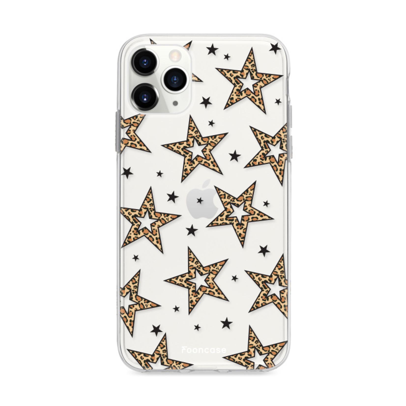 iPhone 12 Pro Max hoesje TPU Soft Case - Back Cover - Rebell Leopard Sterren Transparent