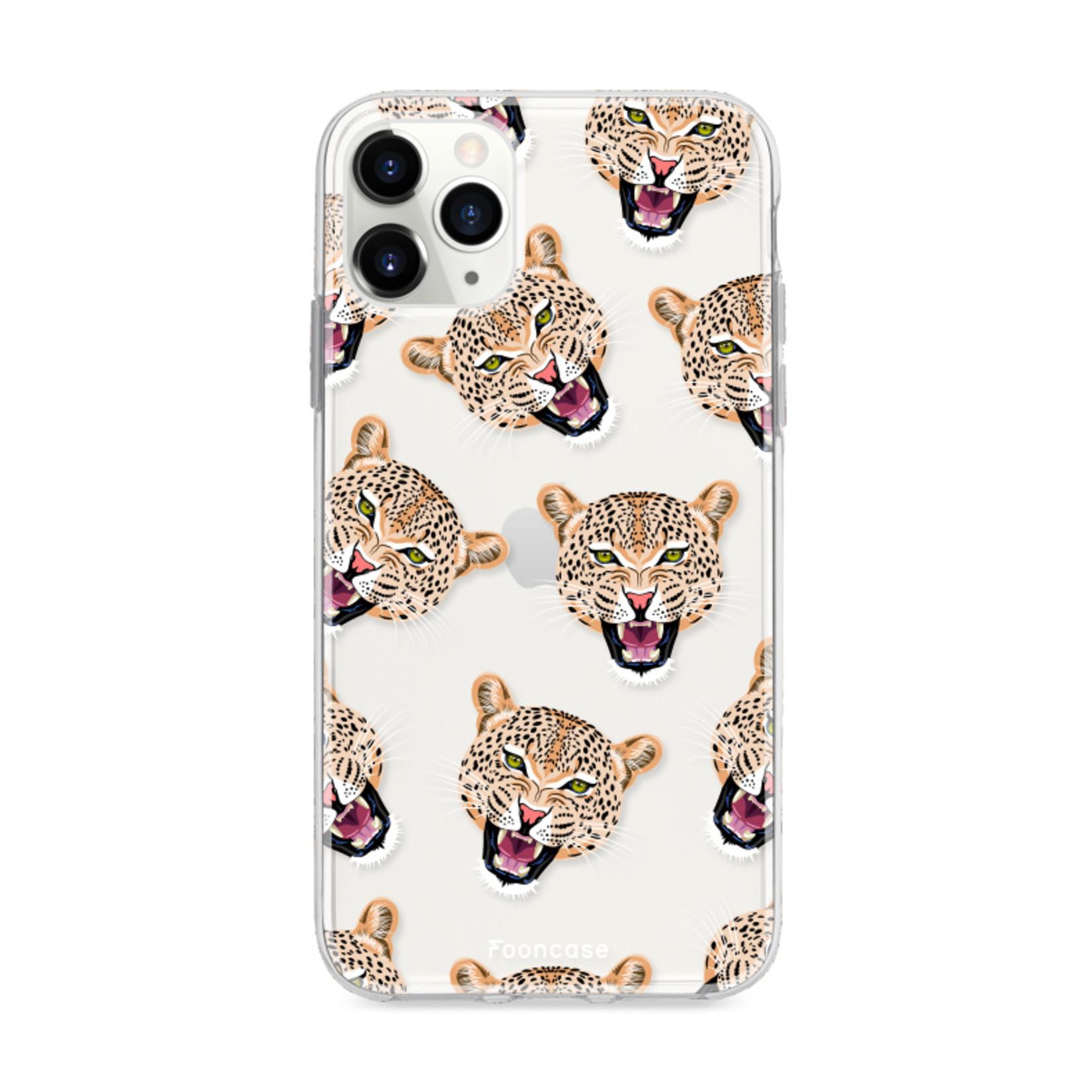 FOONCASE iPhone 12 Pro hoesje TPU Soft Case - Back Cover - Cheeky Leopard / Luipaard hoofden