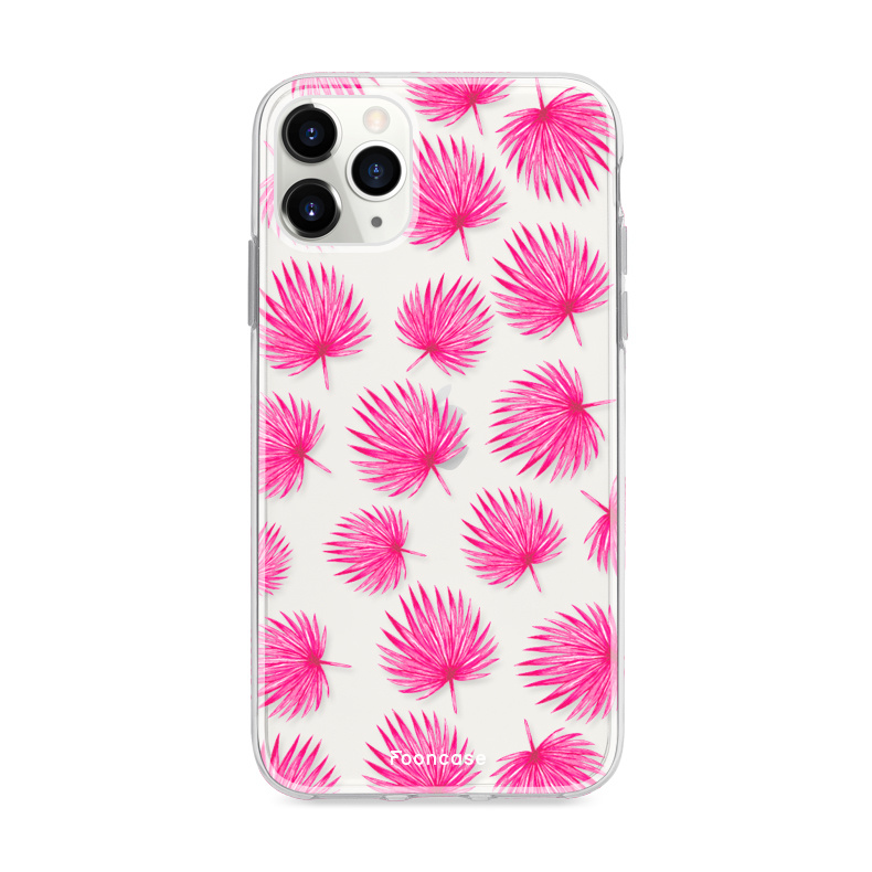 FOONCASE iPhone 12 Pro hoesje TPU Soft Case - Back Cover - Pink leaves / Roze bladeren