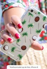 FOONCASE iPhone 12 Pro hoesje TPU Soft Case - Back Cover - Coco Paradise / Kokosnoot / Palmboom