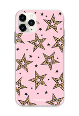 iPhone 12 Pro hoesje TPU Soft Case - Back Cover - Rebell Leopard Sterren Roze