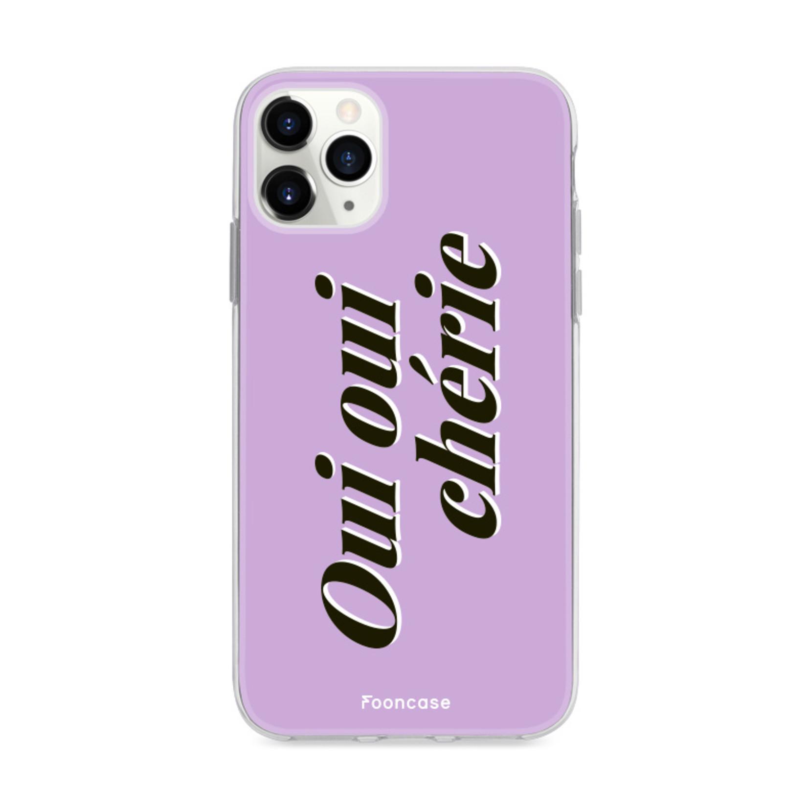 FOONCASE iPhone 12 Pro hoesje TPU Soft Case - Back Cover - Oui Oui Chérie / Lila Paars & Wit