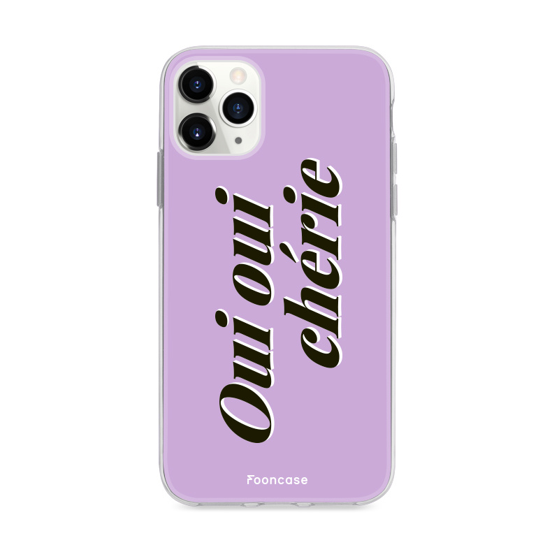 FOONCASE iPhone 12 Pro hoesje TPU Soft Case - Back Cover - Oui Oui Chérie / Lila Paars & Wit