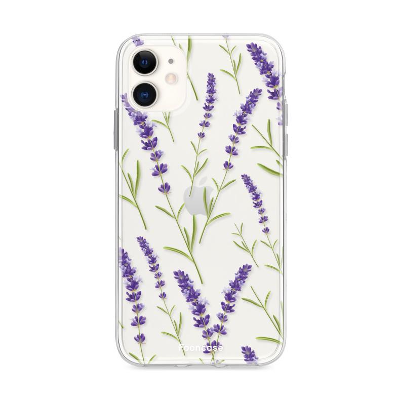 FOONCASE iPhone 12 hoesje TPU Soft Case - Back Cover - Purple Flower / Paarse bloemen