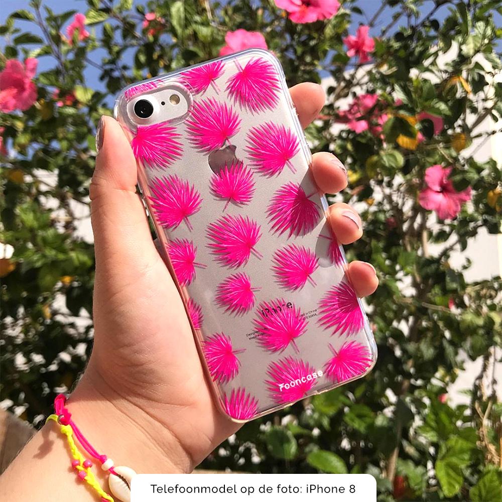 FOONCASE iPhone 12 hoesje TPU Soft Case - Back Cover - Pink leaves / Roze bladeren