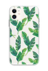 FOONCASE iPhone 12 hoesje TPU Soft Case - Back Cover - Banana leaves / Bananen bladeren