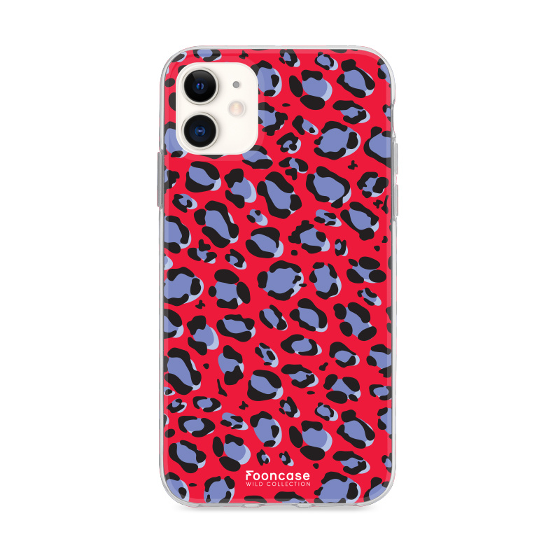 FOONCASE iPhone 12 hoesje TPU Soft Case - Back Cover - WILD COLLECTION / Luipaard / Leopard print / Rood