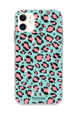 FOONCASE iPhone 12 hoesje TPU Soft Case - Back Cover - WILD COLLECTION / Luipaard / Leopard print / Blauw