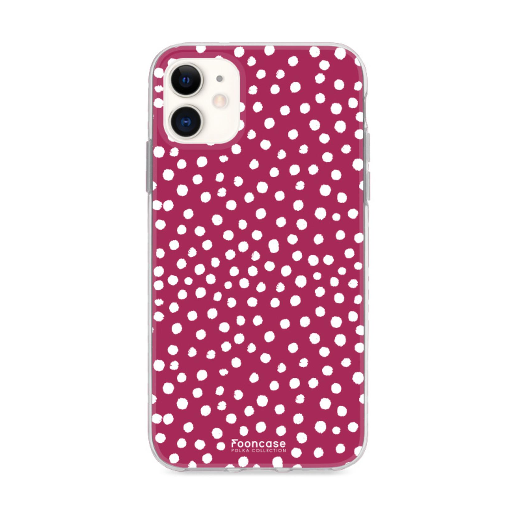 FOONCASE iPhone 12 hoesje TPU Soft Case - Back Cover - POLKA COLLECTION / Stipjes / Stippen / Bordeaux Rood