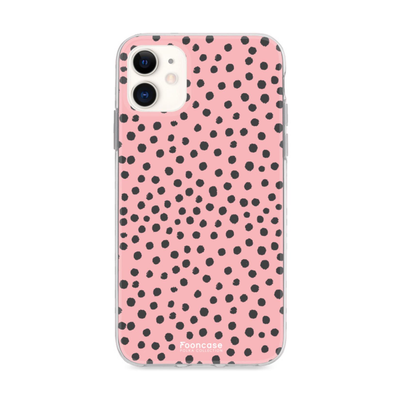 FOONCASE iPhone 12 hoesje TPU Soft Case - Back Cover - POLKA COLLECTION / Stipjes / Stippen / Roze