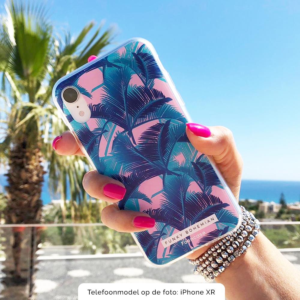 FOONCASE iPhone 12 hoesje TPU Soft Case - Back Cover - Funky Bohemian / Blauw Roze Bladeren