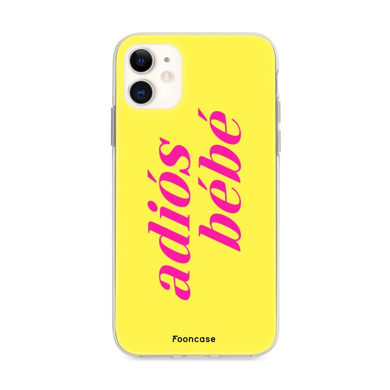 FOONCASE iPhone 12 hoesje TPU Soft Case - Back Cover - Adiós Bébé ☀  / Geel & Roze