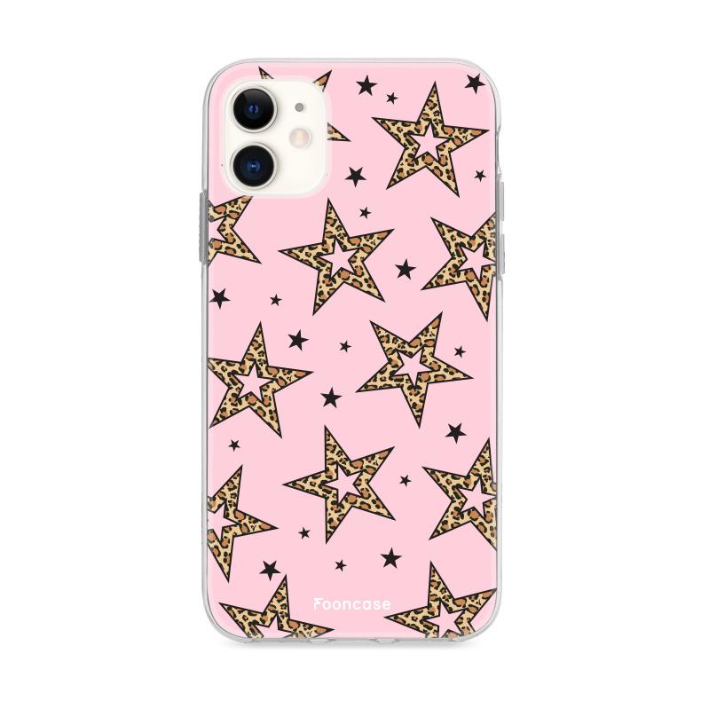 iPhone 12 hoesje TPU Soft Case - Back Cover - Rebell Leopard Sterren Roze
