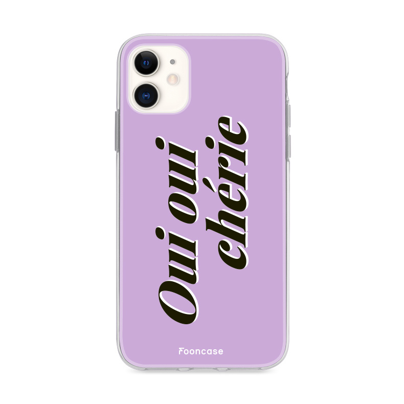 FOONCASE iPhone 12 hoesje TPU Soft Case - Back Cover - Oui Oui Chérie / Lila Paars & Wit