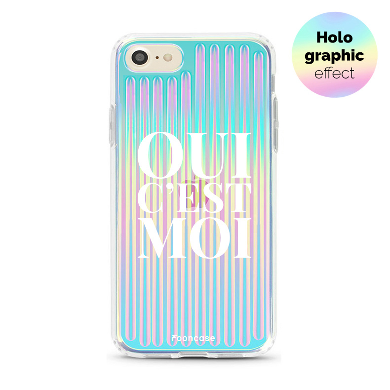 FOONCASE iPhone SE (2020) hoesje TPU Soft Case - Back Cover - Oui C'est Moi (Holographic)