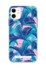 FOONCASE iPhone 12 Mini hoesje TPU Soft Case - Back Cover - Funky Bohemian / Blauw Roze Bladeren