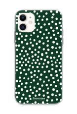 FOONCASE iPhone 12 Mini hoesje TPU Soft Case - Back Cover - POLKA COLLECTION / Stipjes / Stippen / Donker Groen