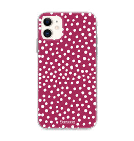 FOONCASE iPhone 12 Mini - POLKA COLLECTION / Bordeaux Red