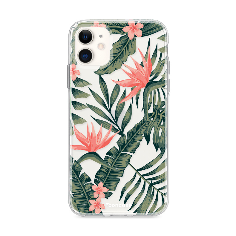 FOONCASE iPhone 12 Mini hoesje TPU Soft Case - Back Cover - Tropical Desire / Bladeren / Roze
