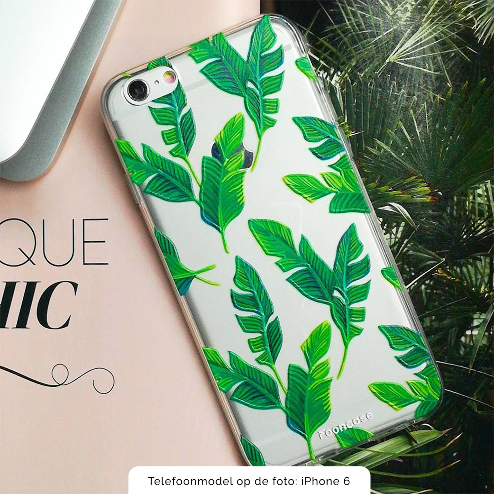FOONCASE iPhone 12 Mini hoesje TPU Soft Case - Back Cover - Banana leaves / Bananen bladeren