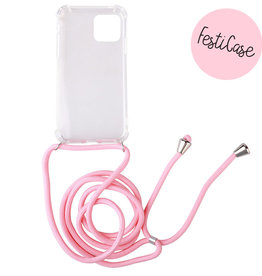 FOONCASE IPhone 12 - Festicase Roze (Telefoonhoesje met koord)