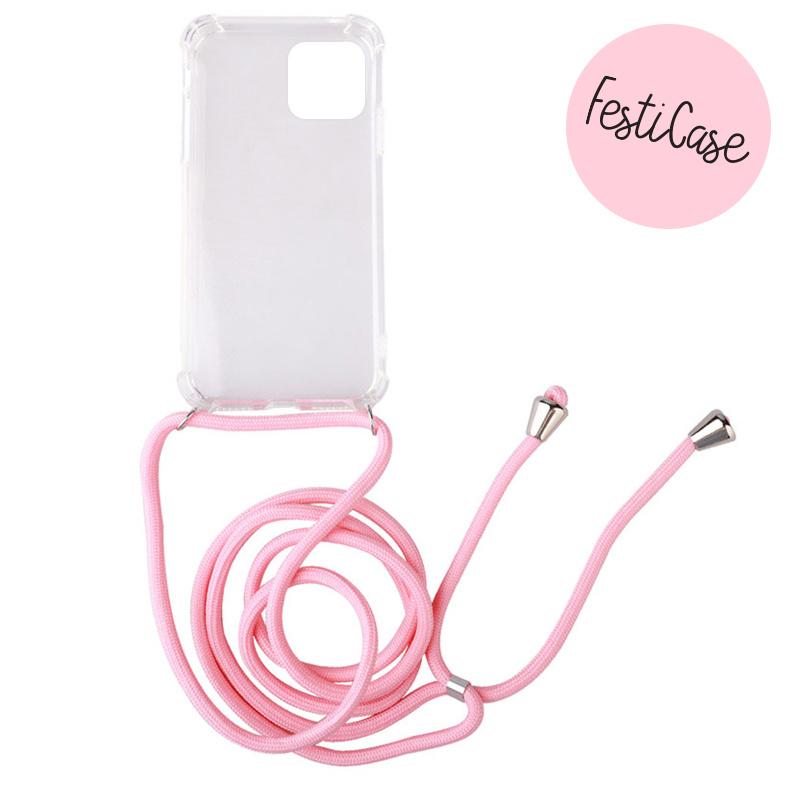 FOONCASE FESTICASE iPhone 12 Telefoonhoesje met koord (Roze) TPU Soft Case - Transparant - Back
