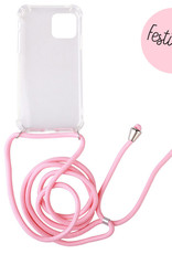 FOONCASE FESTICASE iPhone 12 Mini Telefoonhoesje met koord (Roze) TPU Soft Case - Transparant - Back Cover