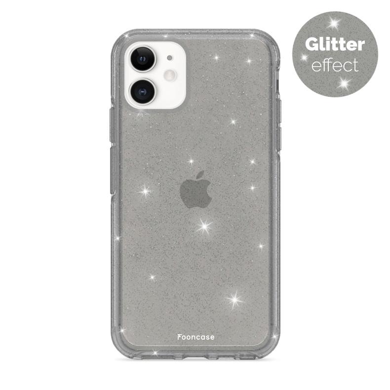 FOONCASE iPhone 11 hoesje TPU - Kerst - Christmas Glamour Zwart (Glitters)