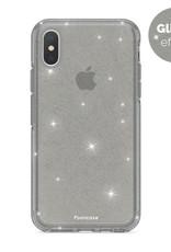 FOONCASE iPhone XS hoesje TPU - Kerst - Christmas Glamour Zwart (Glitters)
