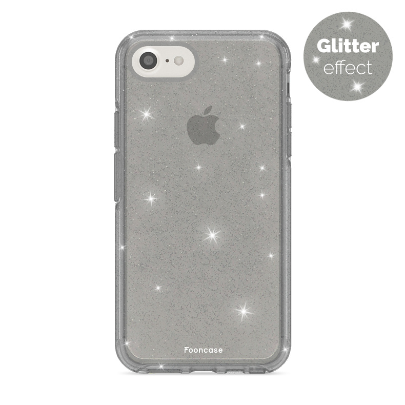 FOONCASE iPhone 8 hoesje TPU - Kerst - Christmas Glamour Zwart (Glitters)