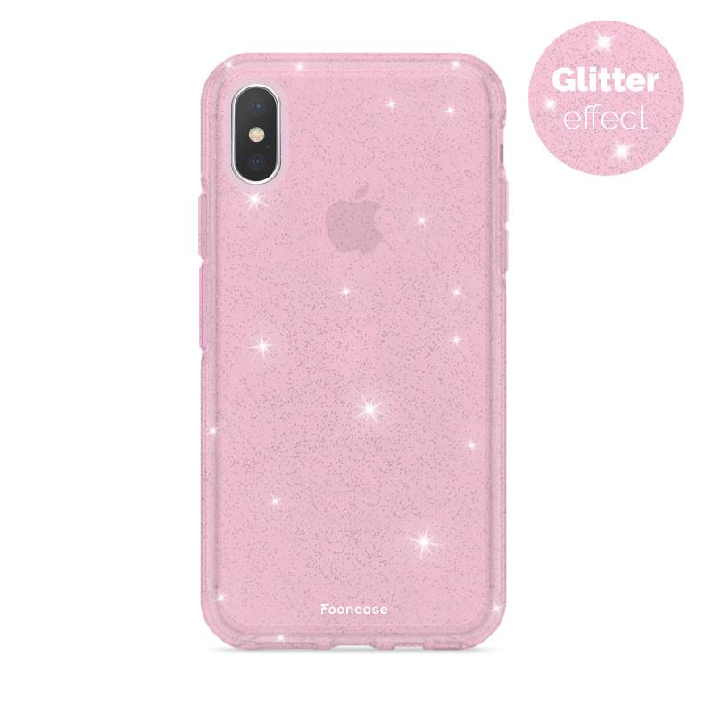 FOONCASE iPhone XS hoesje TPU - Kerst - Christmas Glamour Roze (Glitters)