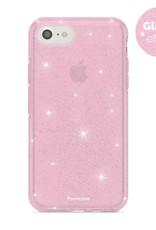 FOONCASE iPhone 7 hoesje TPU - Kerst - Christmas Glamour Roze (Glitters)