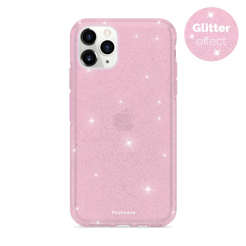 FOONCASE iPhone 12 Pro hoesje TPU - Glamour Roze (Glitters)
