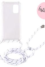 FOONCASE FESTICASE Samsung Galaxy A71 Telefoonhoesje met koord (Wit) TPU Soft Case - Transparant