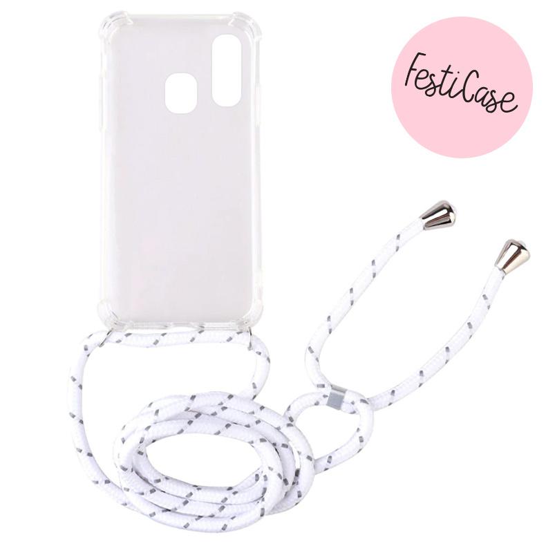 FOONCASE FESTICASE Samsung Galaxy A40 Telefoonhoesje met koord (Wit) TPU Soft Case - Transparant