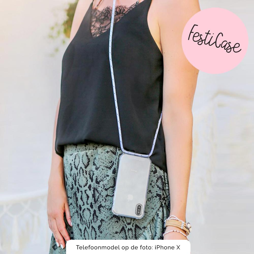 FOONCASE FESTICASE Samsung Galaxy A71 Telefoonhoesje met koord (Roze) TPU Soft Case - Transparant