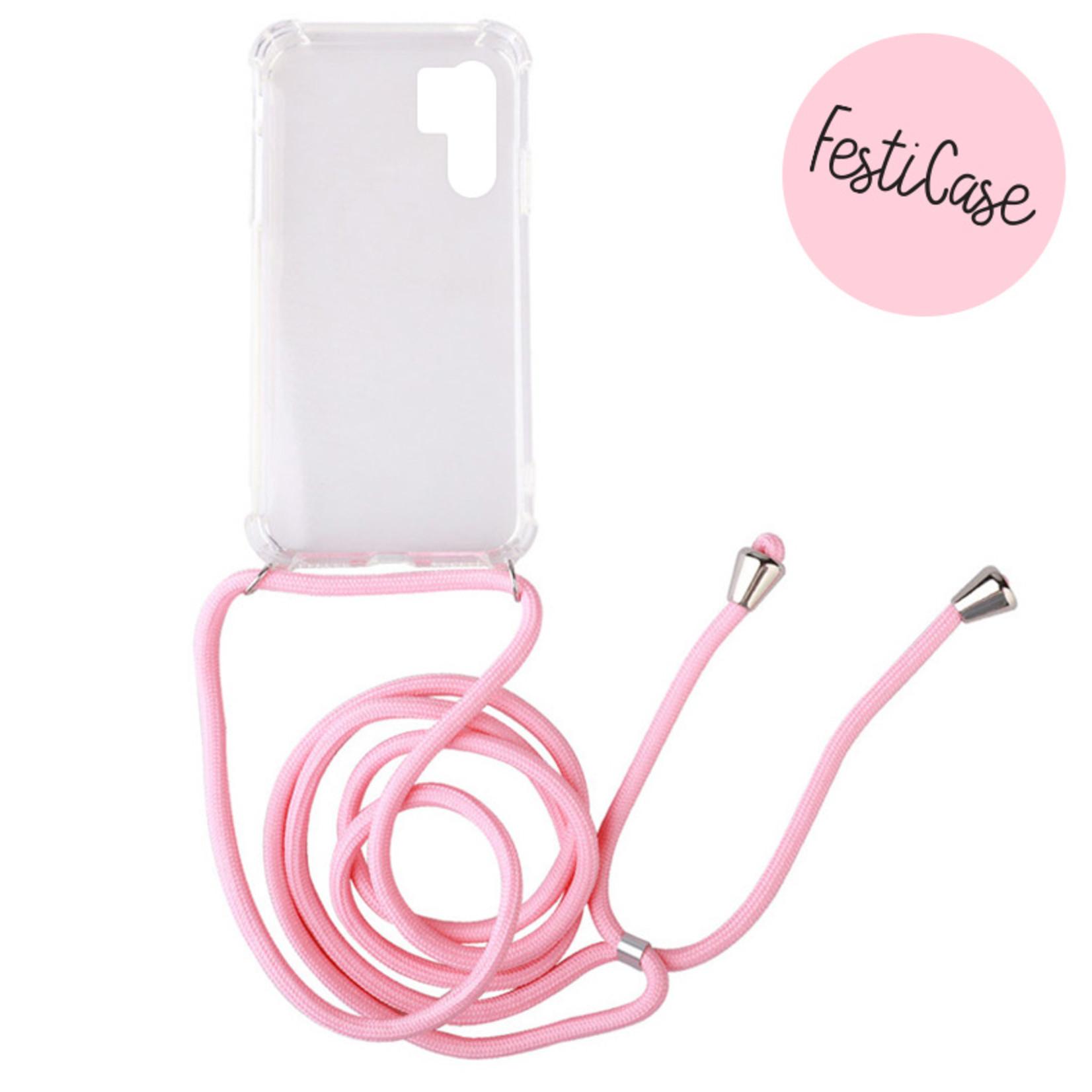 FOONCASE FESTICASE Huawei P30 Pro Telefoonhoesje met koord (Roze) TPU Soft Case - Transparant